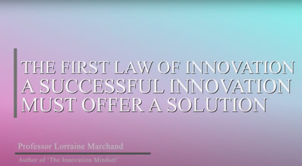 The First Law of Innovation: A Successful Innovation Must Offer a Solution