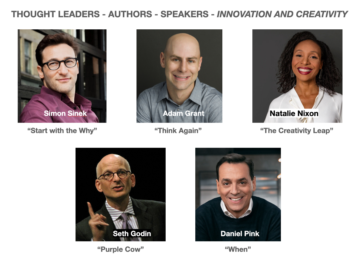 Thought Leaders – Authors – Speakers on Innovation and Creativity